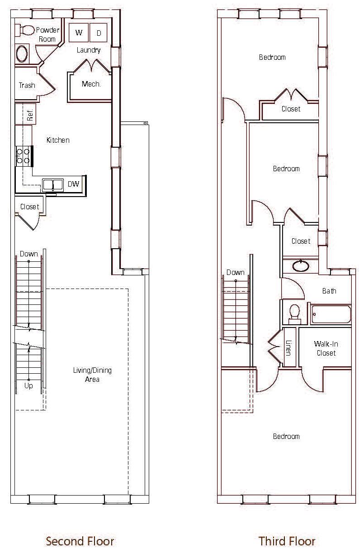 brownstones at diamond street the brownstones three bedroom floor plan 1500 square feet the brownstones 3 br 1 jpg 1