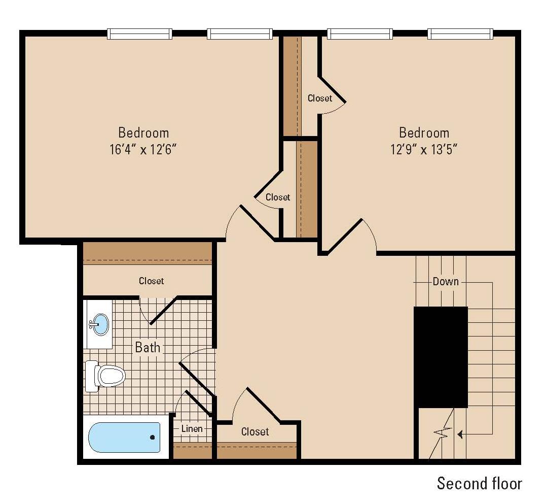 Great Hanover Shoe Two Bedroom Floor Plan Second Floor ...