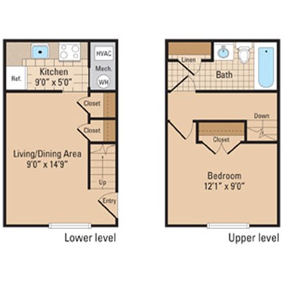 Jefferis Square One Bedroom Floorplan